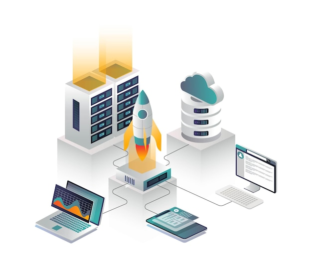 Platte isometrische vectorillustratie, cloud-verbinding met router en raketlancering