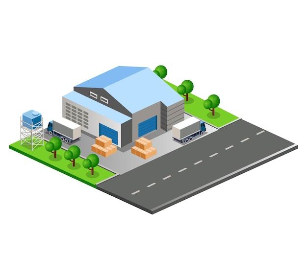 Platte isometrische vectorillustratie, magazijngebouw op stadsstraat