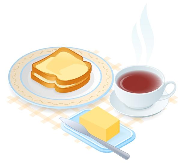 Platte isometrische vectorillustratie van plaat met sneetjes brood en boter, theekopje.