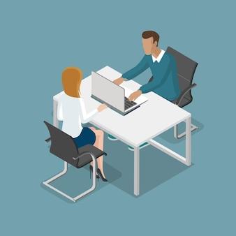 Platte isometrische werkende mensen op kantoor vectorillustratie
