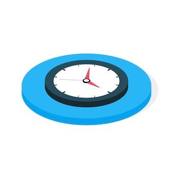 Platte isometrische zakelijke klok. platte isometrische vectorillustratie
