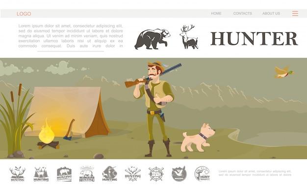 Platte jacht website sjabloon met lachende jager met jachtgeweer hond vliegende eend bijl in de buurt van tent vreugdevuur riet op natuurlandschap