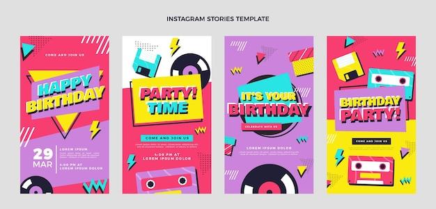 Platte jaren 90 nostalgische verjaardag instagramverhalen