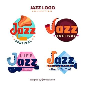 Platte jazz logo collectie met grappige stijl