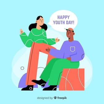 Platte jeugd dag achtergrond met jongeren