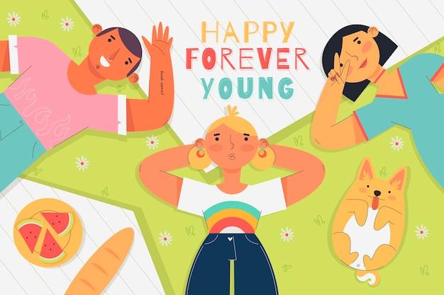 Platte jeugd dag illustratie concept