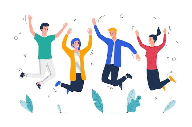 Platte jeugddag - springende mensen