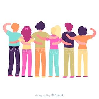 Platte jeugdmensen die samen knuffelen