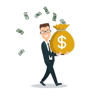 Platte jonge smiley zakenman met volle geldzak bankbiljetten rondvliegen