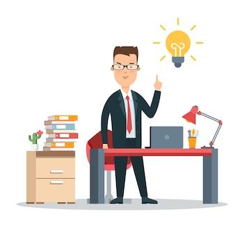 Platte jonge zakenman op de werkplek die aan idee denkt