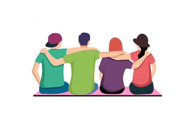 Platte jongeren mensen samen knuffelen