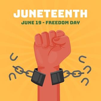 Platte juneteenth vrijheidsdag illustratie