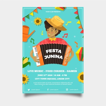 Platte juni festival stijlsjabloon poster