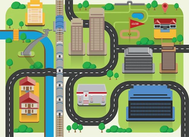 Platte kaart eco stad richting met gebouw pictogrammen