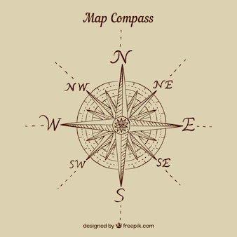 Platte kaart kompas achtergrond