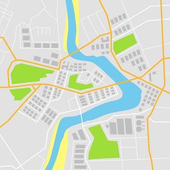 Platte kaart met vectorillustratie