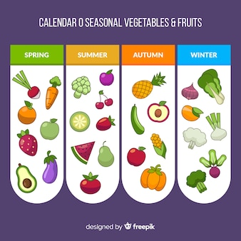 Platte kalender van seizoensgebonden groenten en fruit