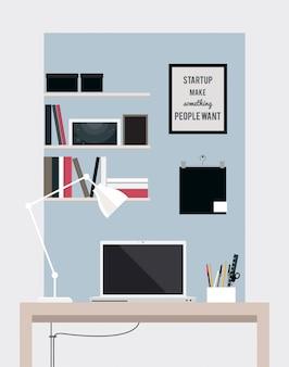 Platte kantoor aan huis interieur illustratie met bureaublad