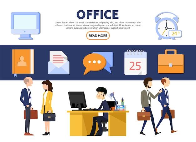 Platte kantoor bedrijfsconcept met zakenlieden zakenvrouwen werkplek computer kladblok brief