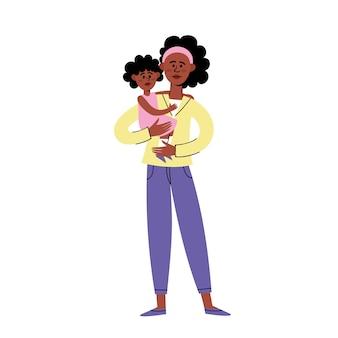 Platte karakter ontwerp van zwarte moeder en kind, triest afro-amerikaanse jonge vrouw stond met dochtertje protesteren tegen racisme.