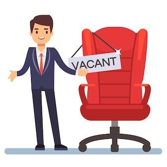 Platte karakter zakenman en baas stoel met tafel vacant