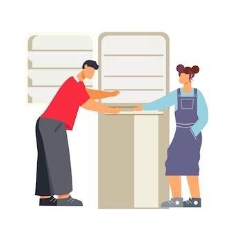 Platte karakters kijken naar koelkast in winkel voor huishoudelijke apparaten