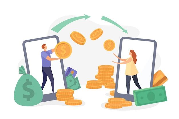 Platte karakters maken geld over met de app voor smartphoneportemonnee. onmiddellijke ontvangst van betalingen, mobiele banktransactie, cashback-betalingsvectorconcept