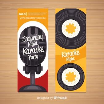 Platte karaoke partij banners sjabloon