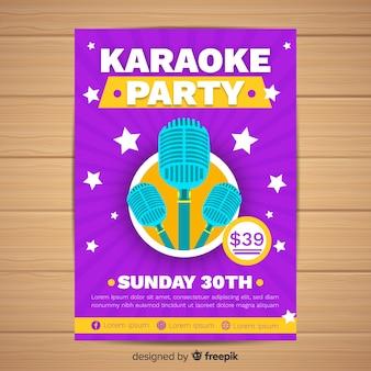 Platte karaoke partij poster sjabloon