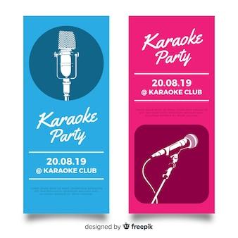 Platte karaoke partij sjabloon voor spandoek Gratis Vector