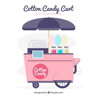 Platte katoen candy cart met paraplu