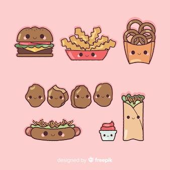 Platte kawaii-voedselverzameling