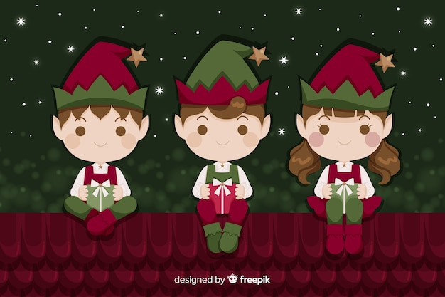 Platte kerst achtergrond met elfjes