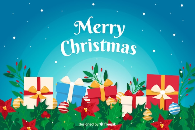 Platte kerst achtergrond met geschenken