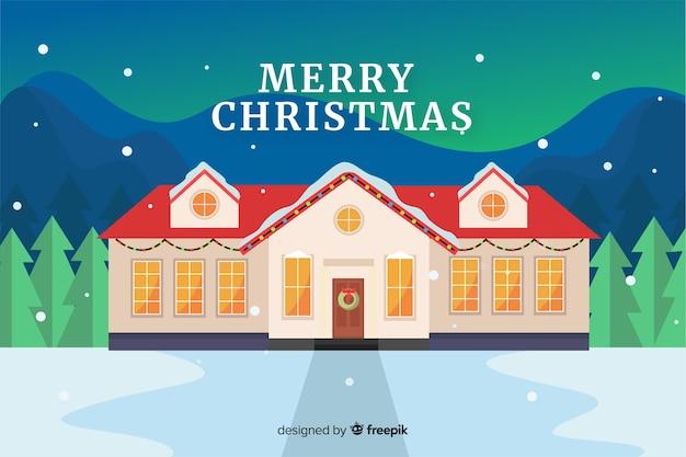 Platte kerst achtergrond met huis ingericht voor kerstmis