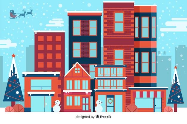Platte kerst achtergrond met huizen klaar voor kerstmis