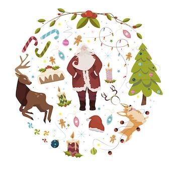 Platte kerst achtergrond met karakters
