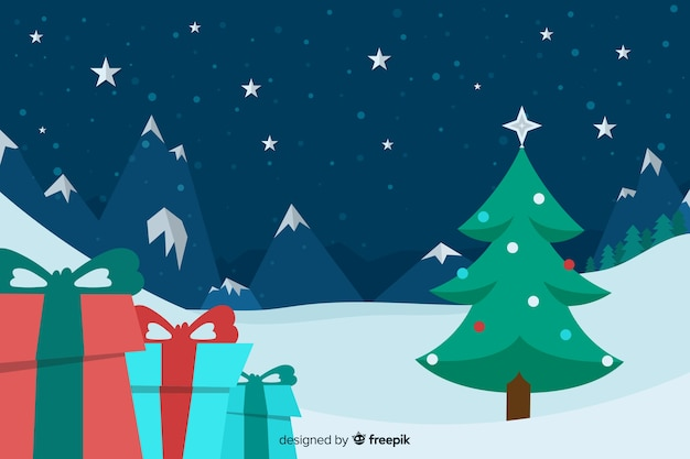Platte kerst achtergrond met kerstboom en geschenken