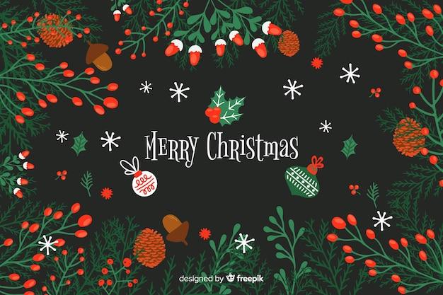 Platte kerst achtergrond met mooie deocoration