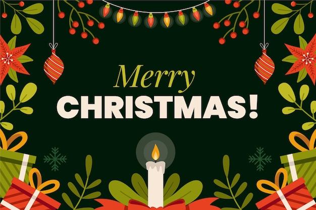 Platte kerst achtergrond met ornamenten
