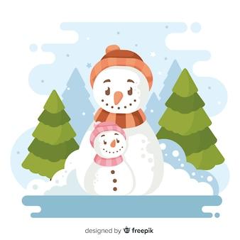 Platte kerst achtergrond met sneeuwpop