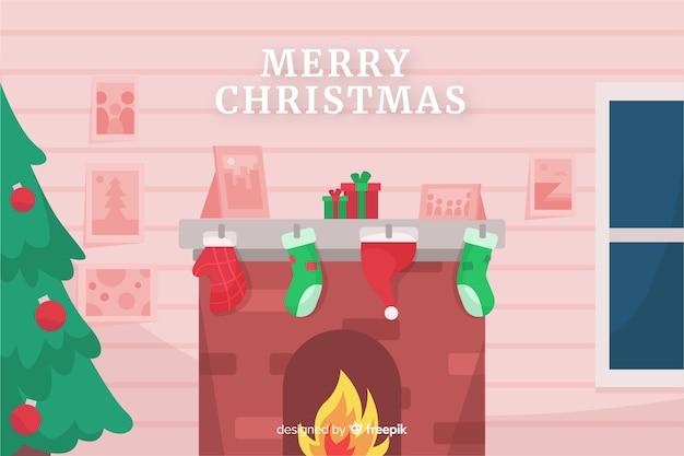 Platte kerst achtergrond met vuur schoorsteen