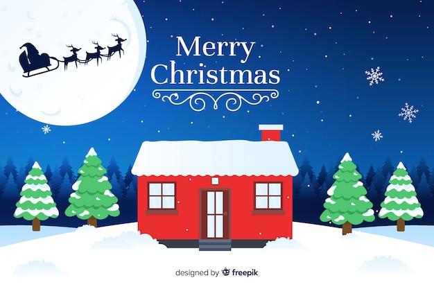 Platte kerst achtergrond vooravond traditie