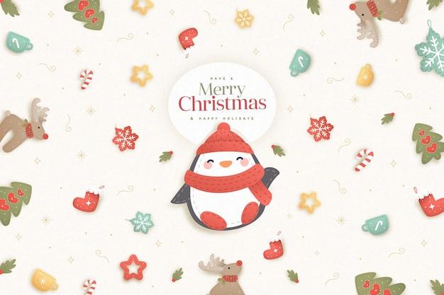 Platte kerst achtergrond