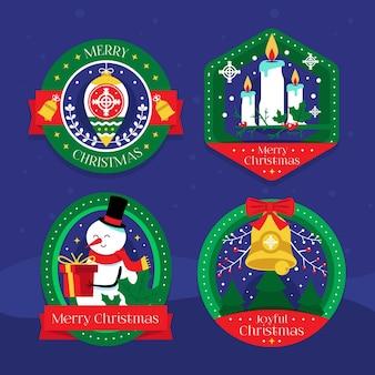 Platte kerst badge collectie