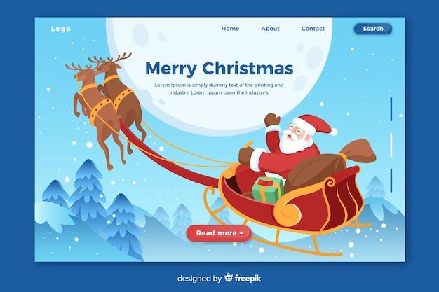Platte kerst bestemmingspagina met de kerstman
