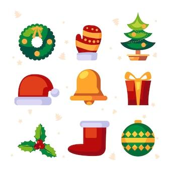 Platte kerst element collectie Gratis Vector