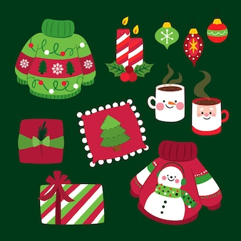 Platte kerst element collectie