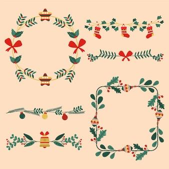 Platte kerst frames en randen collectie