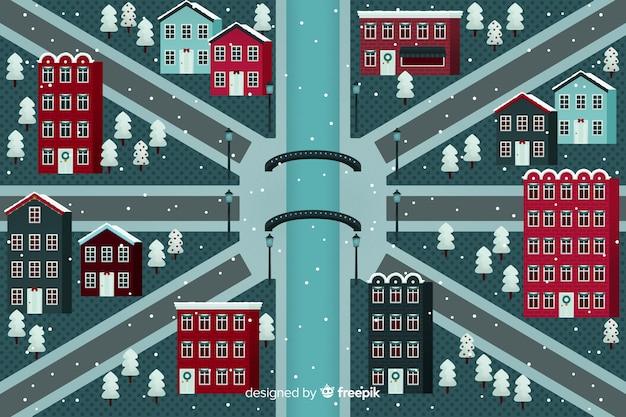 Platte kerst futuristische stad